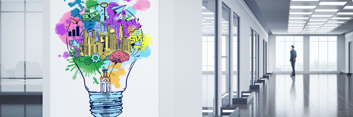Businessman looking out of window in clean office hall interior with creative colorful business sketch on poster. Financial ideas concept. 3D Rendering